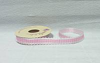 Лента тканевая, Белая с розовой клеткой и кружевом, 1,5см