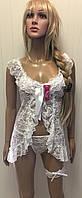 Кружевной белый пеньюар с подвязкой для невесты