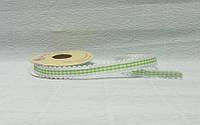 Лента тканевая, Белая с зеленой клеткой и кружевом, 1,5см