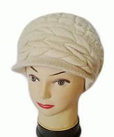 Берет с козырьком(кепка) женский вязаный Анна шерсть натуральная цвет бежевый светлый