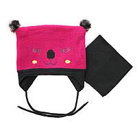 Зимняя шапка+манишка для девочки PELUCHE 40 BF ACC F16 Hot Pink. Размер 6/12м, 12/24м и 2/3.