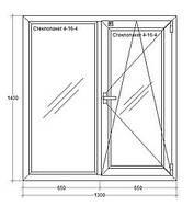 Окно металлопластиковое, Open teck, двухстворчатое, поворот-откид, фирма Ок Онлайн