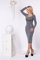 Женское платье 953 (серый абстракция)