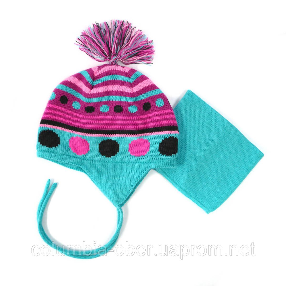 Зимняя шапка+манишка для девочки PELUCHE 32 BF ACC F16 Aquablue. Размер 12/24м и 2/3.