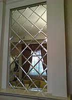 Зеркальное панно 600х1900 серебро фацет 15мм (плитка141 мм)