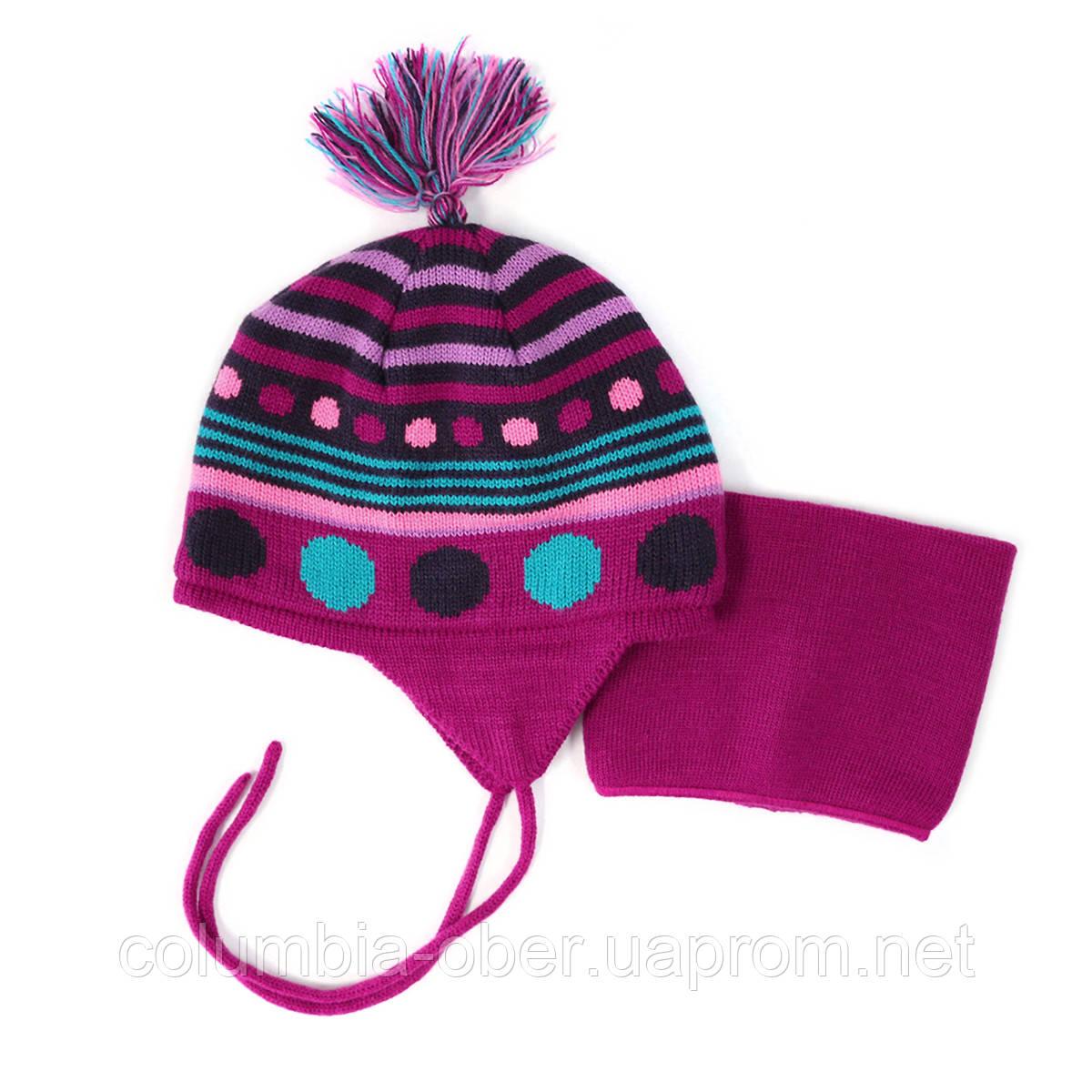 Зимняя шапка+манишка для девочки PELUCHE 32 BF ACC F16. Размер 12/24м и 2/3.