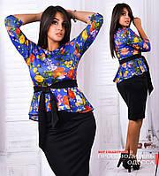 Костюм двойка:баска с цветочным принтом+юбка однотонная