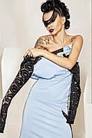 Женское платье с кружевными рукавами