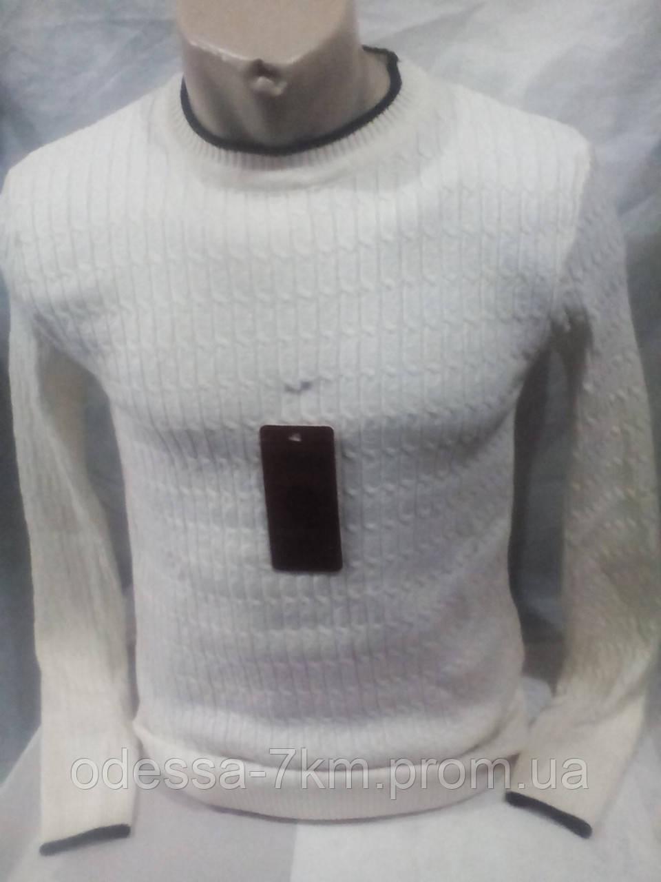 5a0b7f79a794 Белый мужской приталенный джемпер 46-48 рр - Одежда для всей семьи оптом в  Одессе
