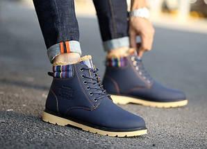 Зимние ботинки ХИТ СЕЗОНА! цвет - темно-синий, натуральная кожа,