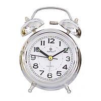 Ретро будильник: батарея кварц, корпус металл, циферблат закрыт пластиковым стеклом, 11,5х8х4,5 см