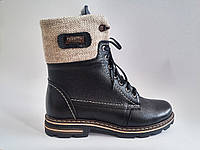 Кожаные женские зимние черные стильные удобные ботинки 36 Topas
