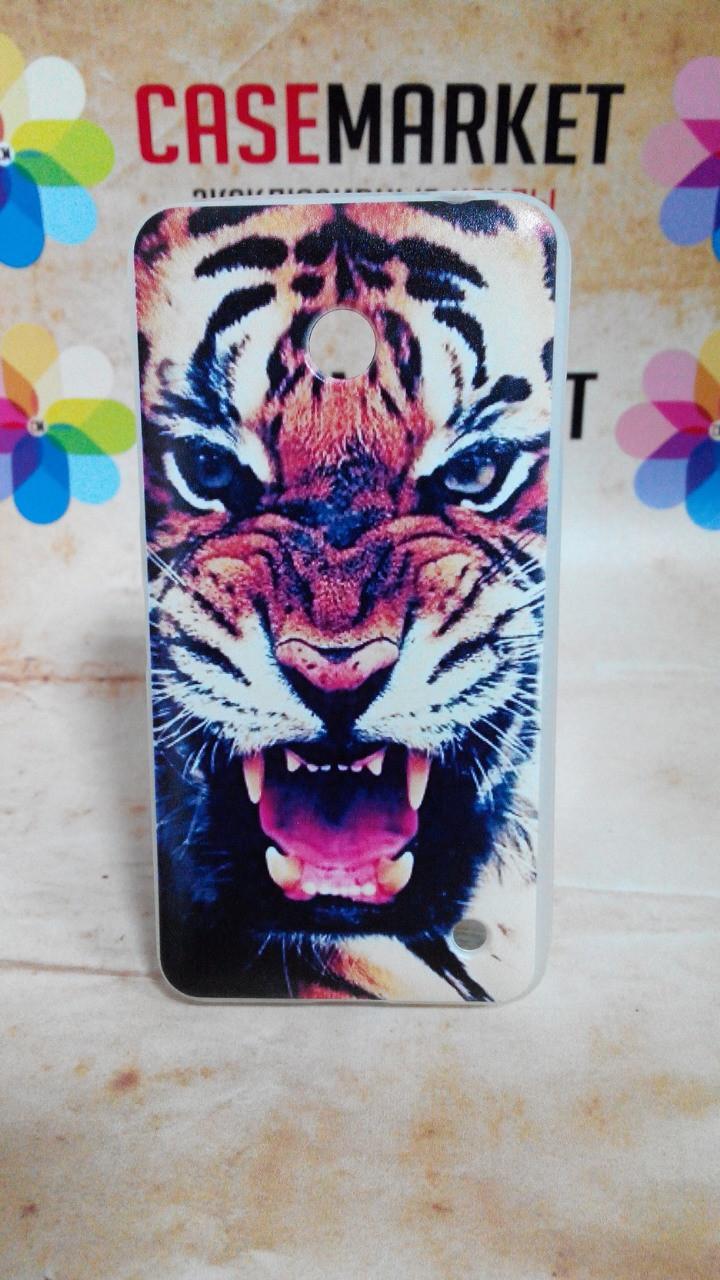 Чехол силиконовый бампер для Nokia Lumia 630 635 с рисунком Тигр