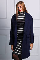 Зимнее женское пальто из натуральной шерсти синий