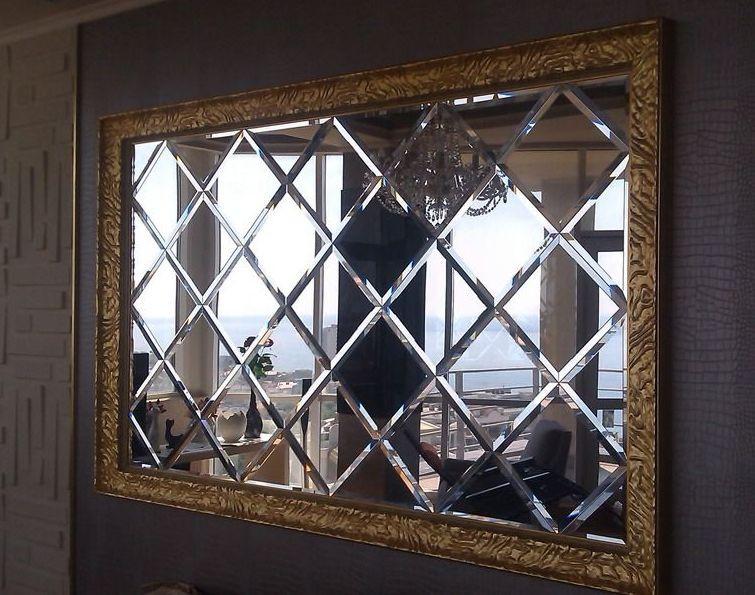 Зеркальное панно 1270х2120 серебро фацет 15мм (плитка 300  мм)