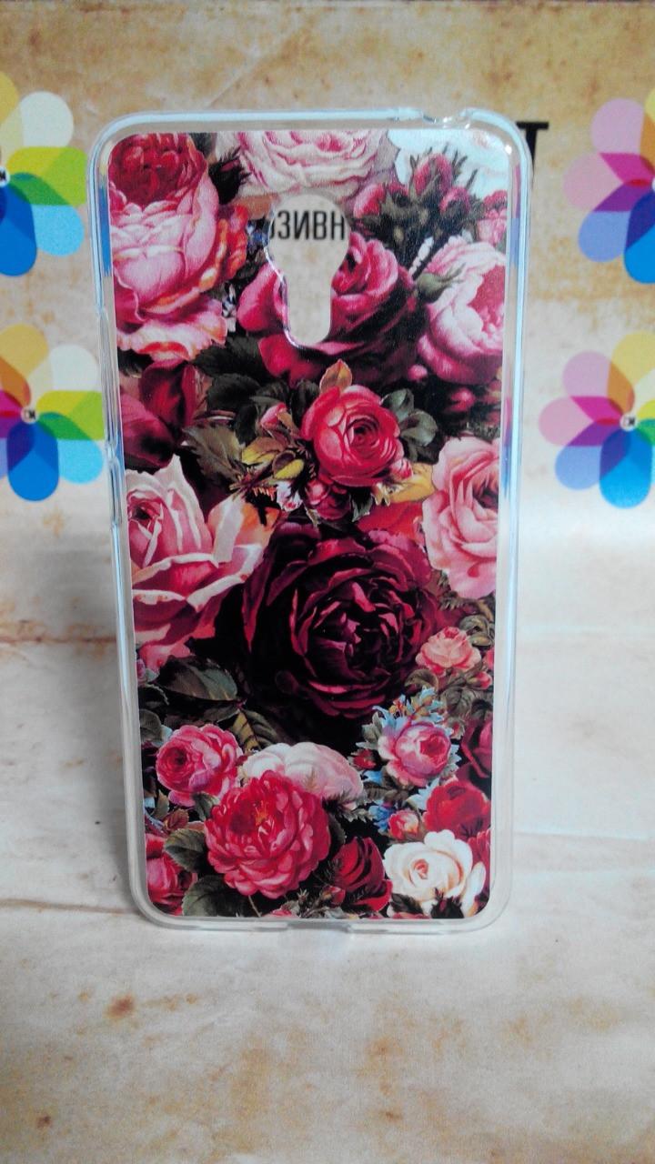 Чехол силиконовый бампер для Meizu M3 Note с рисунком Розы