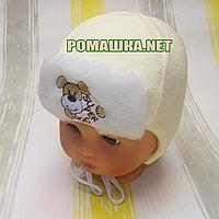 Детская зимняя вязанная термо шапочка р. 44 на завязках для новорожденного ТМ Мамина мода 3241 Бежевый