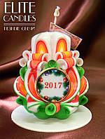 Свеча новогодняя, ручной работы, красиво горит и украшает интерьер, на подарок любимым и близким