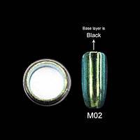 Зеркальная пудра для ногтей Canni 02 зеленая, 2 г