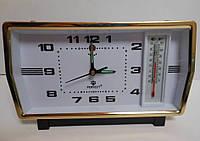 Будильник с термометром механический, 10,5х18х17 см, цвет «золото хром»