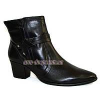 Кожаные черные женские демисезонные ботинки на невысоком каблуке. В наличии 36-41 размеры