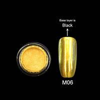 Зеркальная пудра для ногтей Canni 06 золотая, 2 г