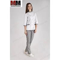 Медицинский костюм Амстердам (белый/серый) №1042