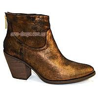 Женские демисезонные ботинки на невысоком каблуке, натуральный замш с бронзовым напылением. 36-41 размеры, фото 1
