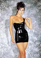 Латексное мини-платье с открытым плечиком, S