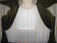 Комплект: ламбрекен  и шторы,  из портьерной парчи с люрексовой нитью. 050лш028
