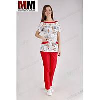 Медицинский костюм Мюнхен (принт/красный) №1040