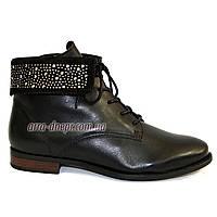 Женские демисезонные кожаные ботинки на шнуровке, декорированы стразами. 36-41 размеры