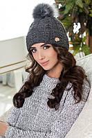 Зимняя женская шапка с бубоном Алеста, шапки женские