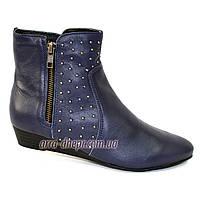Женские демисезонные синие кожаные ботинки. 36-41 размеры, фото 1