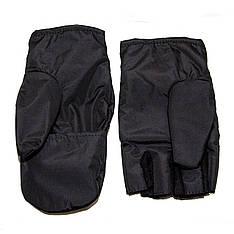 Перчатки-варежки с откидными пальцами, черные