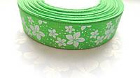 Лента атласная Зеленая с цветами 2.5 см 1 м, фото 1