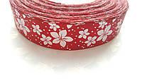 Лента атласная Бордовая с цветами 2.5 см 1 м