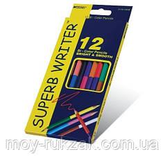 Карандаши цветные 12шт. 24цвета MARCO 4110-12CB Superb Writer двухсторонние