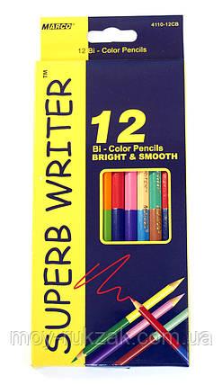 Карандаши цветные 12шт. 24цвета MARCO 4110-12CB Superb Writer двухсторонние, фото 2