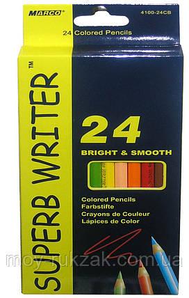 Карандаши цветные 24 цвета MARCO 4100-24CB Superb Writer, фото 2