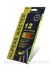 Карандаши цветные 12 цветов MARCO 4120-12CB Superb Writer Aquarelle, акварельные с кисточкой
