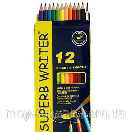 Карандаши цветные 12 цветов MARCO 4120-12CB Superb Writer Aquarelle, акварельные с кисточкой, фото 2