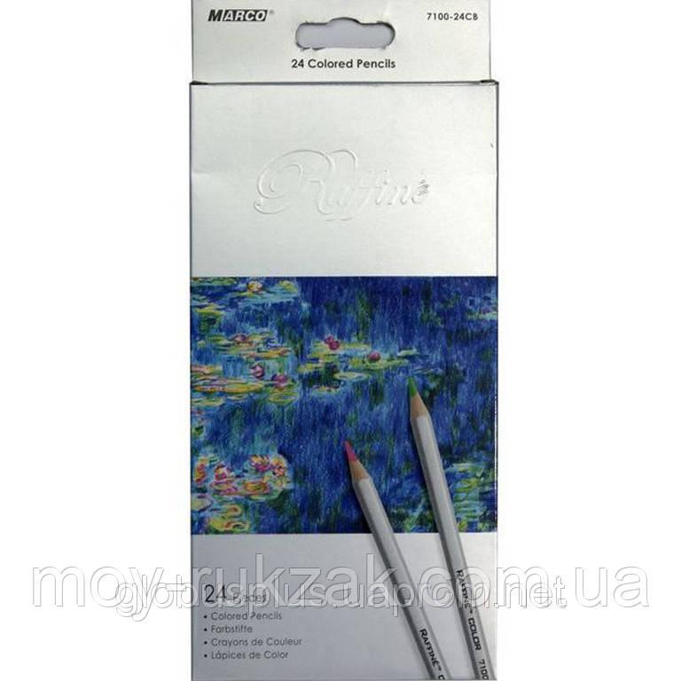 Карандаши цветные 24 цвета MARCO 7100-24CB Raffine, металлизированные