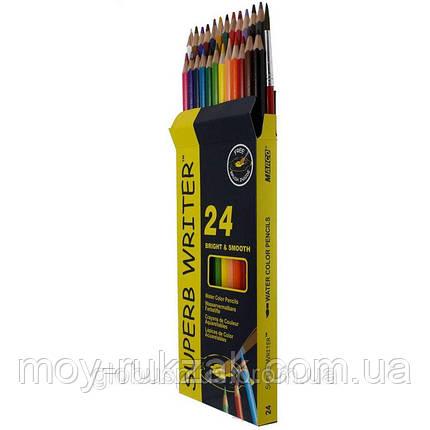 Карандаши цветные 24 цвета MARCO 4120-24CB Superb Writer Aquarelle, акварельные с кисточкой, фото 2