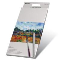 Карандаши цветные 12 цветов MARCO 7120-12CB Raffine Aquarelle, металлизированные, акварельные с кисточкой