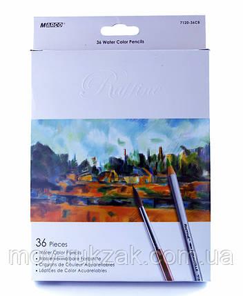 Карандаши цветные 36 цветов MARCO 7120-36CB Raffine Aquarelle, металлизированные, акварельные с кисточкой, фото 2