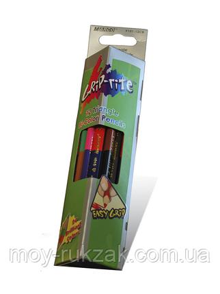 Карандаши цветные 12 цветов MARCO 9101-12CB Grip-Rite двухсторонние,треугольные, фото 2