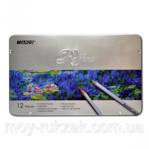 Карандаши цветные 12 цветов MARCO 7100-12TN Raffine металлизированные, металлическая упаковка