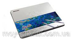 Карандаши цветные 24 цвета MARCO 7100-24TN Raffine металлизированные, металлическая упаковка