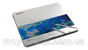 Карандаши цветные 24 цвета MARCO 7100-24TN Raffine металлизированные, металлическая упаковка, фото 2